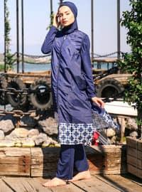Navy Blue - Multi - Full Coverage Swimsuit Burkini