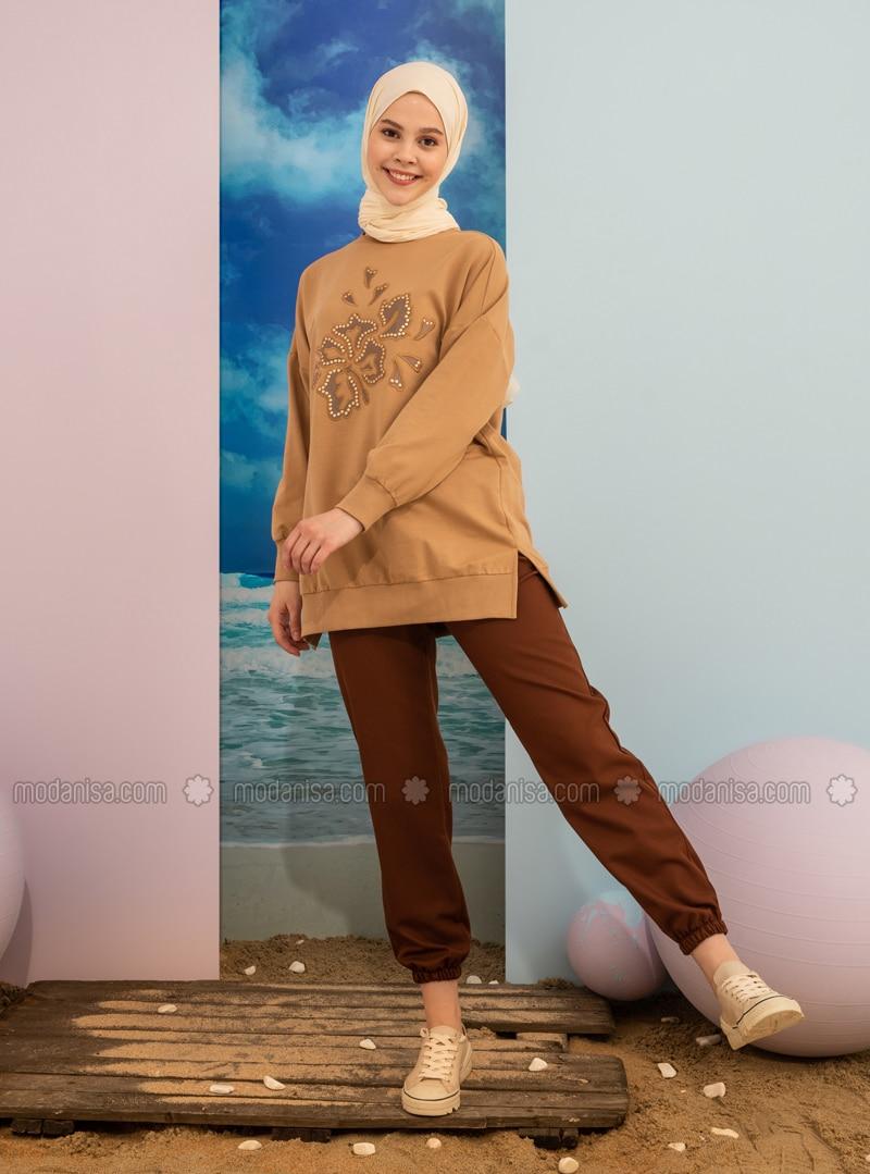 Crew neck - Brown - Sweat-shirt