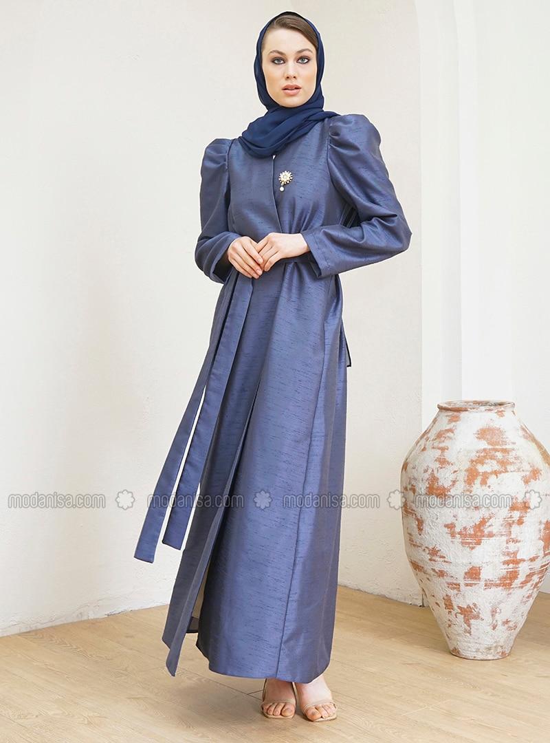 Navy Blue - Unlined - V neck Collar - Abaya