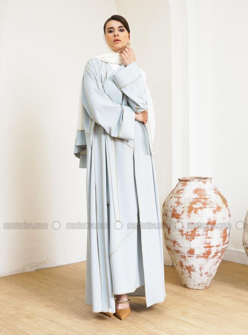 Mint - Unlined - V neck Collar - Abaya