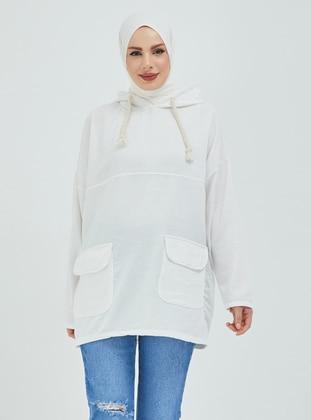 White - Ecru - Sweat-shirt