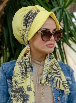 Yellow - Black - Floral - Instant Scarf