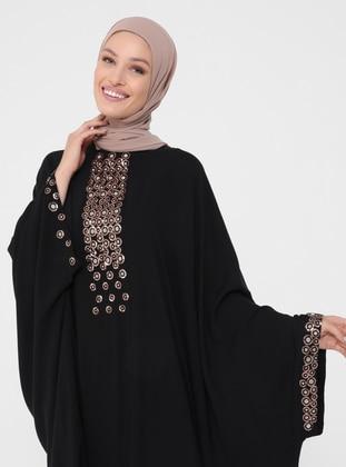 Black - Unlined - Crew neck - Abaya - Refka