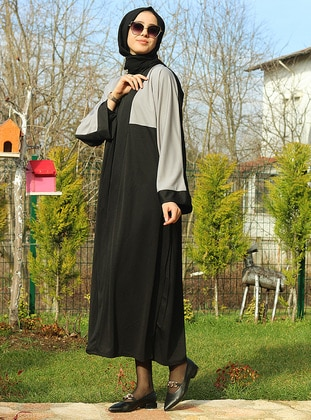 Gray - Black - Unlined - Abaya