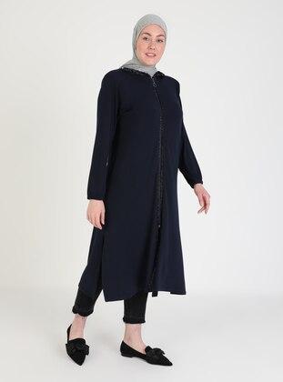 Navy Blue - Unlined - Plus Size Coat