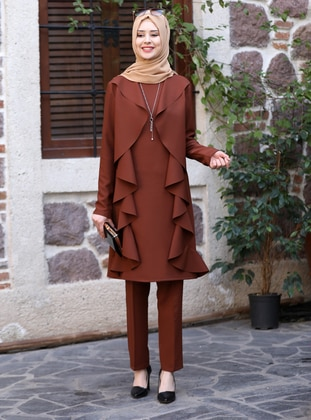 Unlined - Brown - Crew neck - Evening Suit - Azra Design