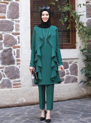 Unlined - Emerald - Crew neck - Evening Suit - Azra Design