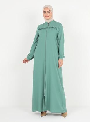Green Almond - Unlined - Crew neck - Abaya