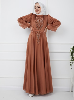 Tan - Multi - Fully Lined - Crew neck - Modest Evening Dress