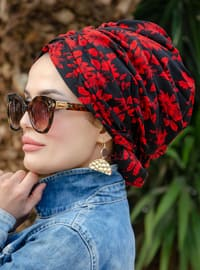 Red - Black - Printed - Instant Scarf