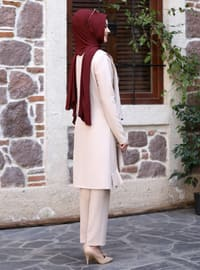 Unlined - Beige - Crew neck - Evening Suit