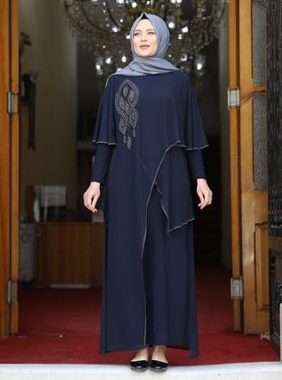 Navy Blue - Unlined - Crew neck - Modest Plus Size Evening Dress - Amine Hüma