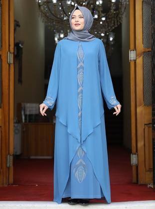 Baby Blue - Multi - Unlined - Crew neck - Modest Plus Size Evening Dress