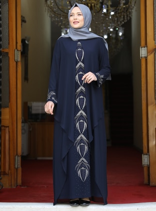 Navy Blue - Multi - Unlined - Crew neck - Modest Plus Size Evening Dress