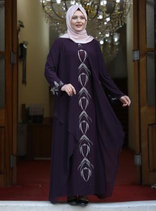 Plum - Multi - Unlined - Crew neck - Modest Plus Size Evening Dress