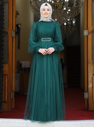 Emerald - Fully Lined - Crew neck - Modest Evening Dress