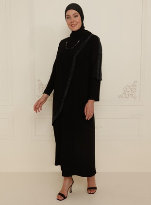 Black - Unlined - Crew neck - Modest Plus Size Evening Dress - Amine Hüma