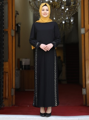 Black - Unlined - Crew neck - Modest Evening Dress