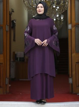 Plum - Unlined - Modest Plus Size Evening Dress