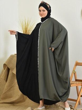 Khaki - Black - Unlined - Crew neck - Abaya