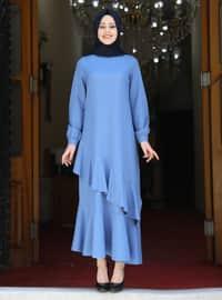 Ice Blue - Unlined - Crew neck - Modest Evening Dress