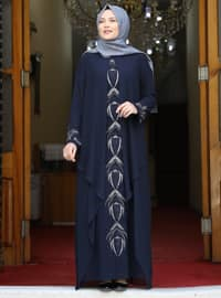 Navy Blue - Multi - Unlined - Crew neck - Modest Plus Size Evening Dress
