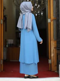 Baby Blue - Unlined - Crew neck - Modest Plus Size Evening Dress