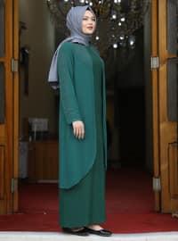 Emerald - Unlined - Crew neck - Modest Plus Size Evening Dress
