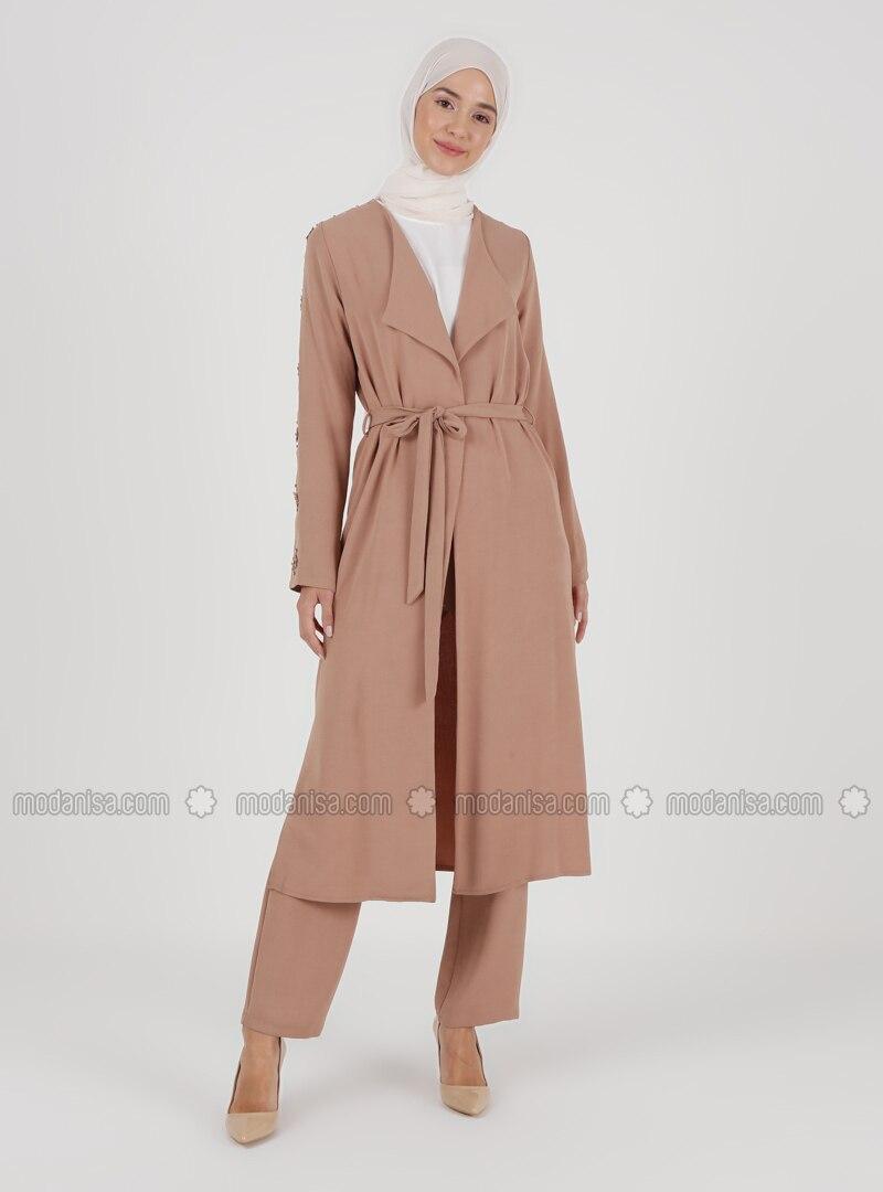 Beige - Unlined - Kimono