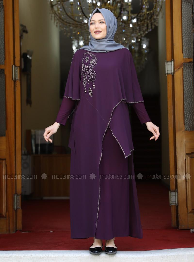 Plum - Unlined - Crew neck - Modest Plus Size Evening Dress