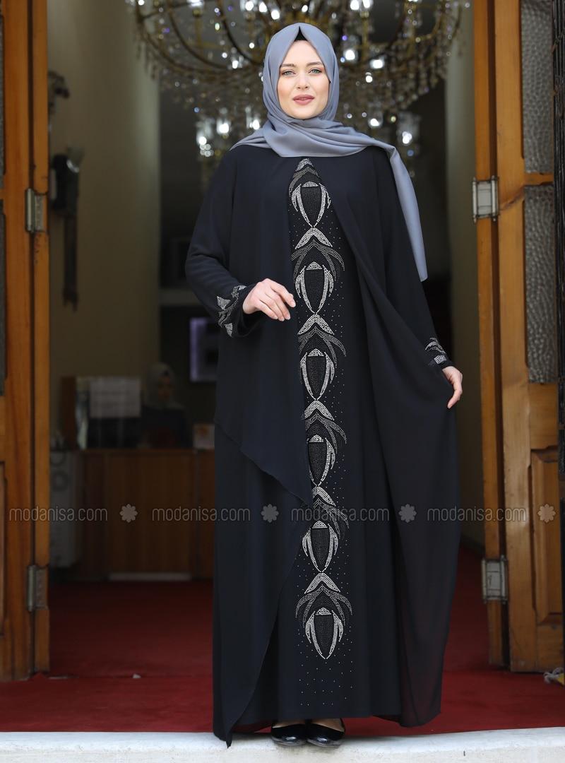 Black - Multi - Unlined - Crew neck - Modest Plus Size Evening Dress