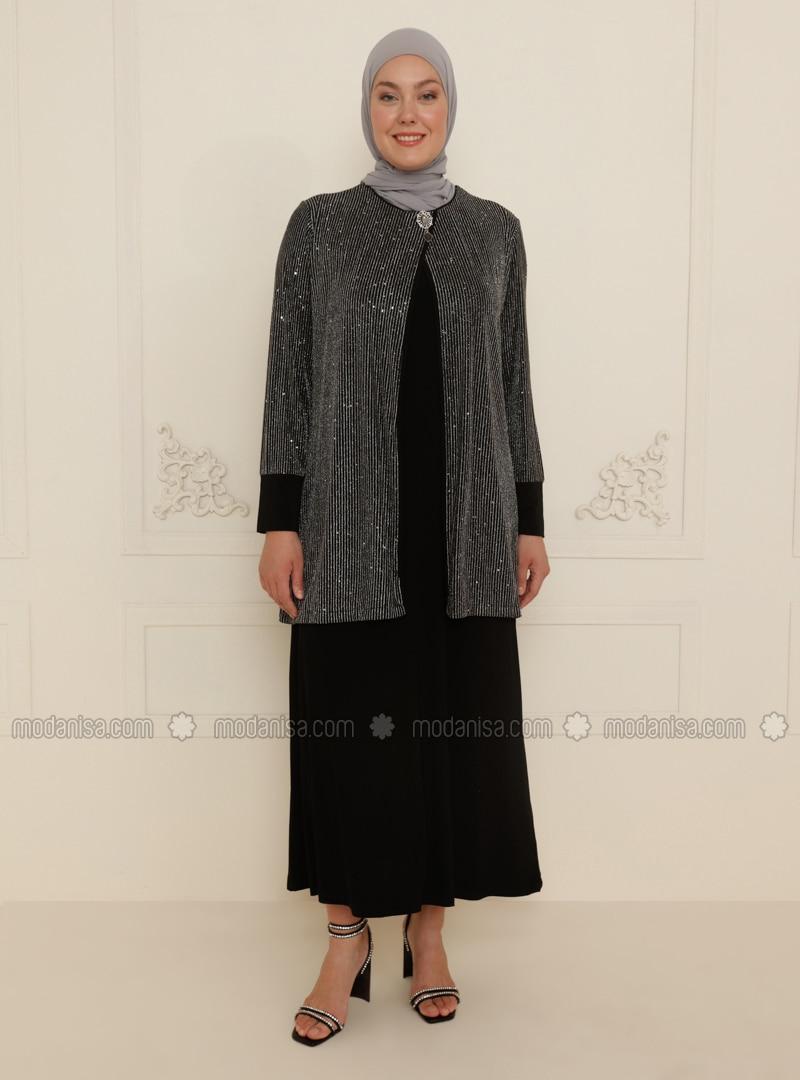 Gray - Unlined - Crew neck - Modest Plus Size Evening Dress