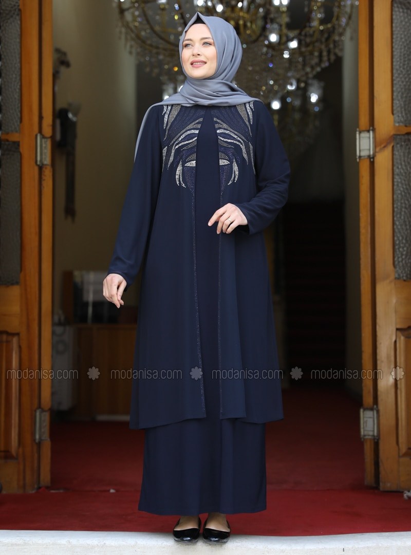Navy Blue - Unlined - Crew neck - Modest Plus Size Evening Dress