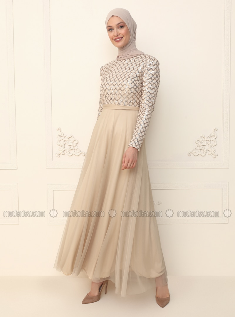 Beige - Fully Lined - Crew neck - Modest Evening Dress
