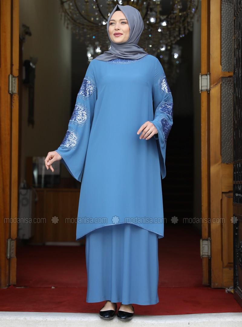 Baby Blue - Unlined - Modest Plus Size Evening Dress