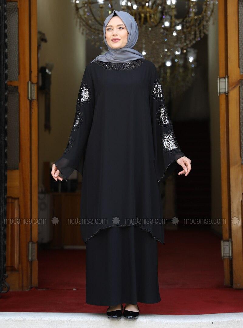 Black - Unlined - Modest Plus Size Evening Dress
