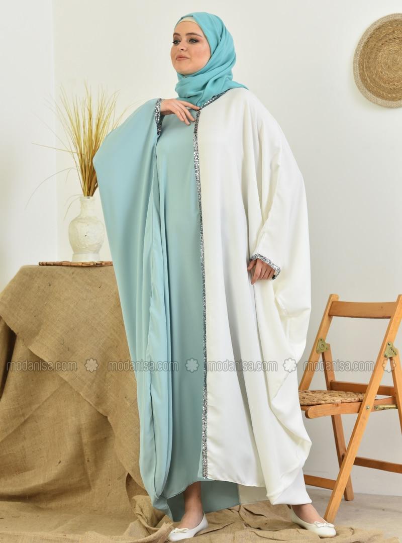 Ecru - Mint - Unlined - Crew neck - Abaya