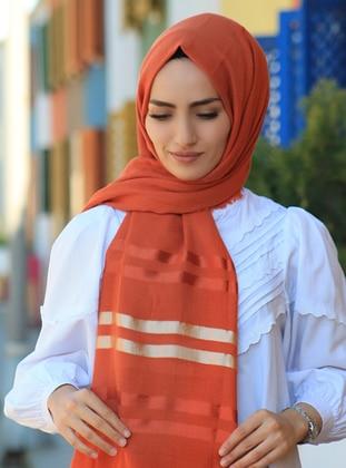 Tan - Striped - Plain - Cotton - Shawl