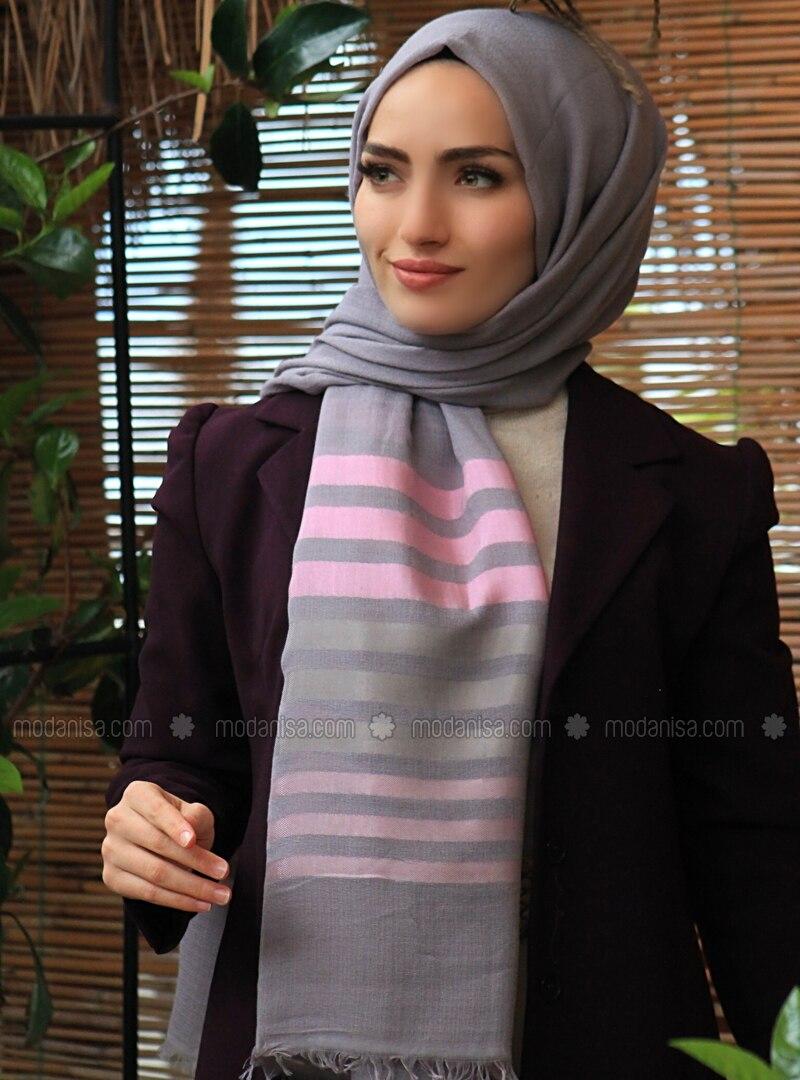 Gray - Striped - Plain - Cotton - Shawl