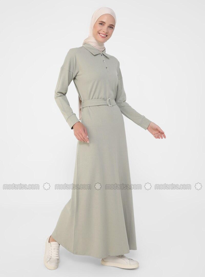 Green - Point Collar - Unlined - Cotton - Modest Dress
