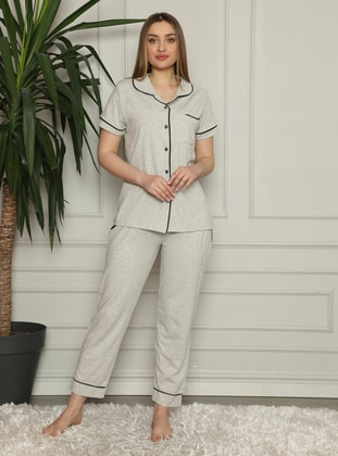 Gray - Shawl Collar - Pyjama Set
