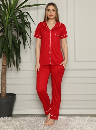 Red - Shawl Collar - Pyjama Set