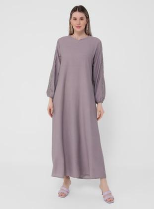 Lilac - Unlined - V neck Collar - Plus Size Dress - Alia