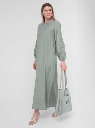 Olive Green - Unlined - V neck Collar - Plus Size Dress - Alia