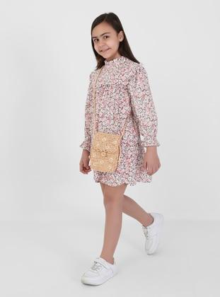 Floral - Polo neck - Pink - Girls` Dress - Refka Kids
