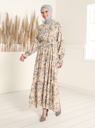 Mink - Floral - Crew neck - Modest Dress