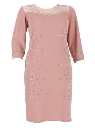 Pink - Unlined - Crew neck - Modest Plus Size Evening Dress