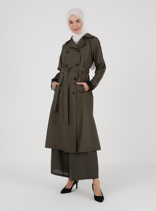 Khaki - Unlined - Topcoat - LOREEN