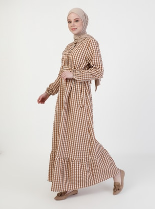 Brown - Checkered - Crew neck - Unlined - Modest Dress