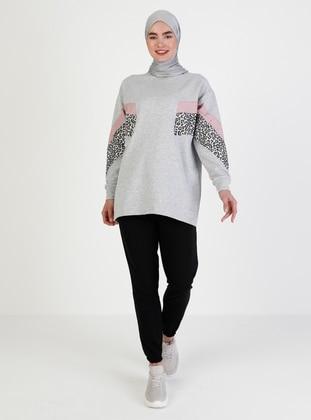 Crew neck - Leopard - Gray - Sweat-shirt